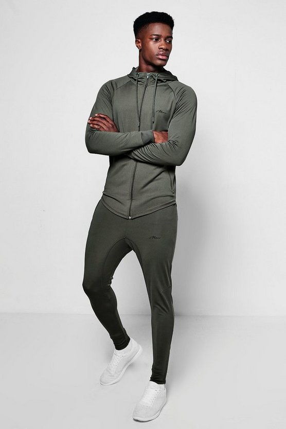 Muscle Fit Man Poly Tracksuit Embroidered