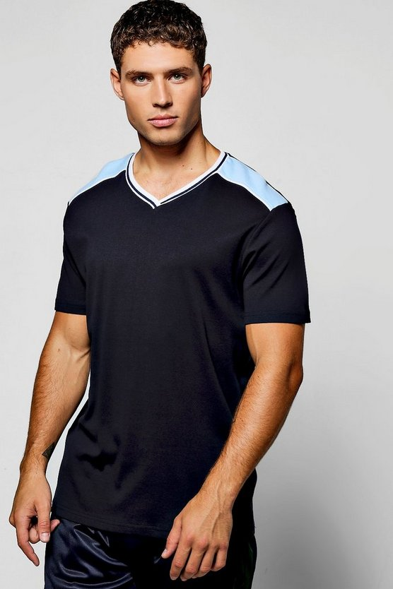 V Neck T-Shirt With Contrast Rib