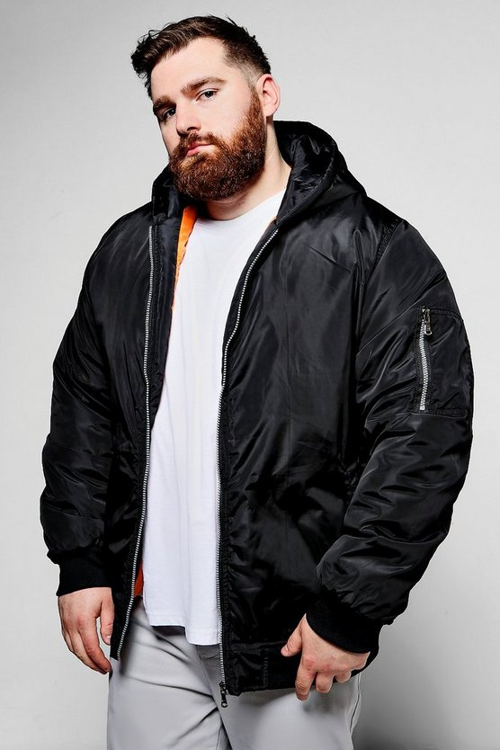 Big And Tall MA1 Hooded Bomber Jacket