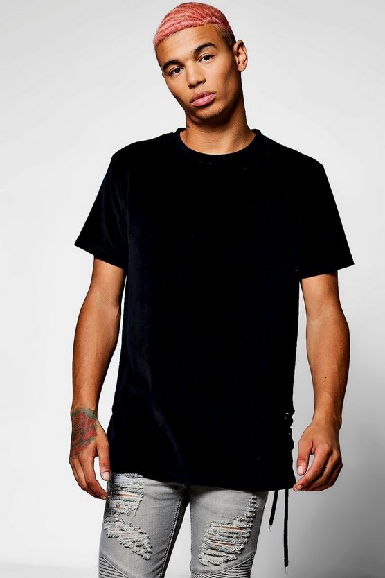 Skater Velour T-Shirt With Lace Detail