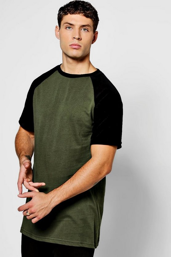 Longline T-Shirt With Contrast Velour Sleeves
