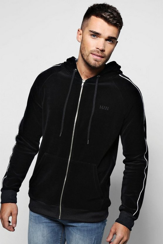 MAN Embroidered Velour Hoodie With Piping