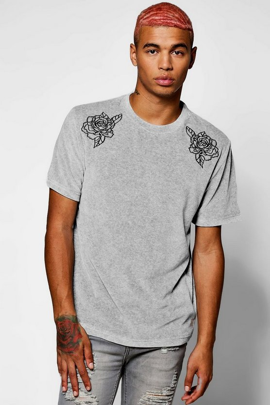 Floral Embroidered Velour T-Shirt
