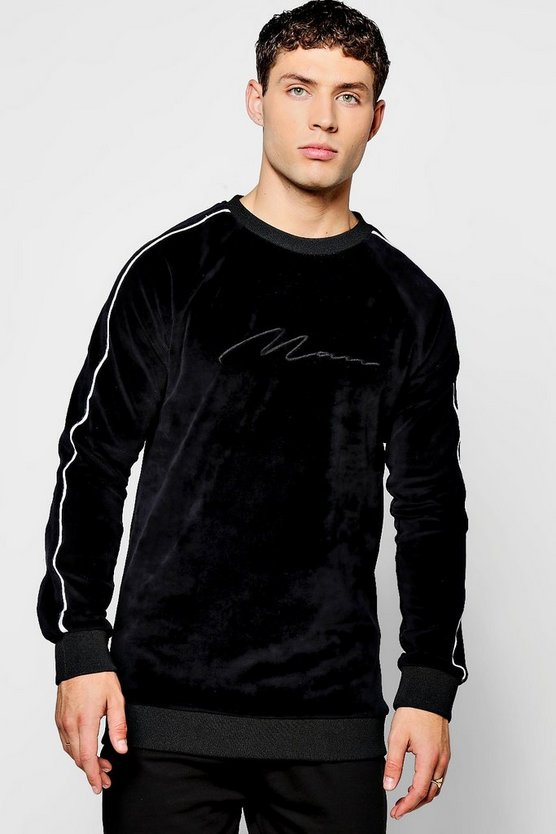 MAN Signature Velour Sweater With Piping
