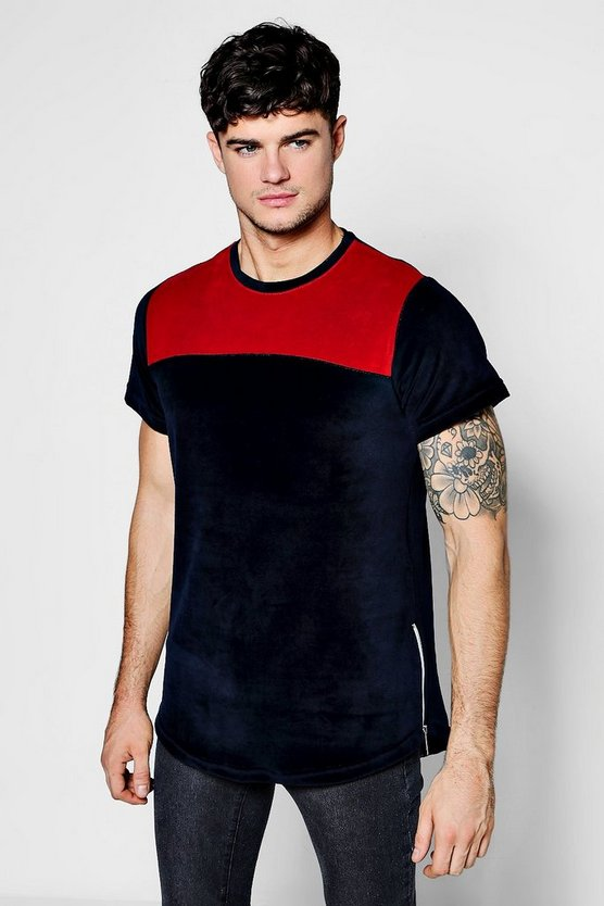 Slim Fit Colour Block Velvet T Shirt