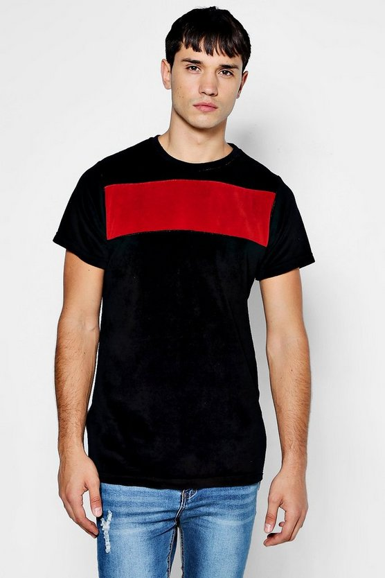 Colour Block Velour T-Shirt