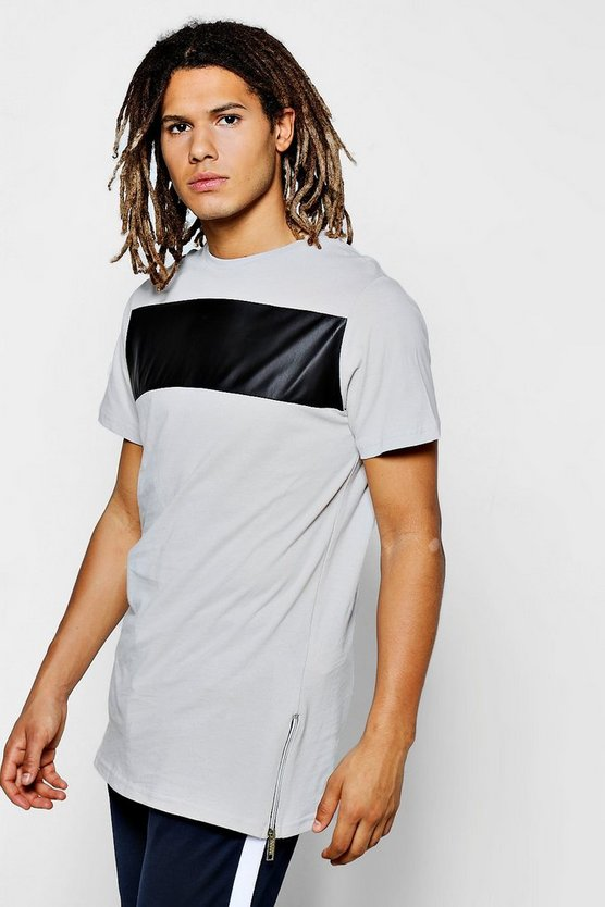 Slim Fit T-Shirt With PU Panel And Side Zip