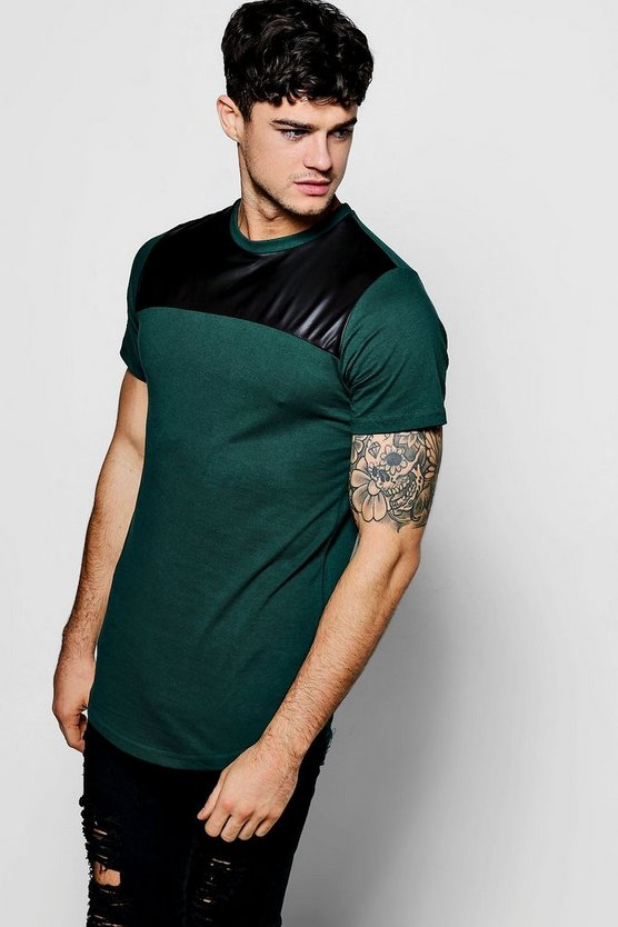 Slim Fit PU Panel T-Shirt With Curve Hem
