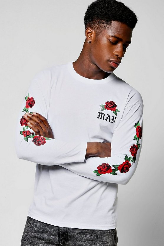 Long Sleeve MAN Rose Print T-Shirt