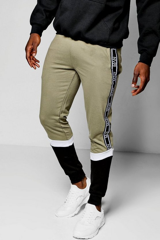 Skinny Fit Colour Block MAN Tape Joggers