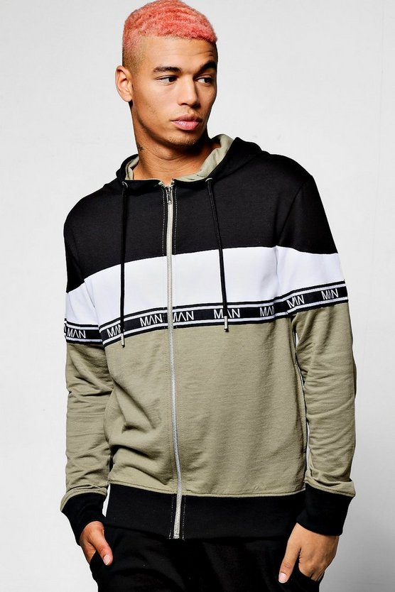 Colour Block Hoodie With MAN Taping