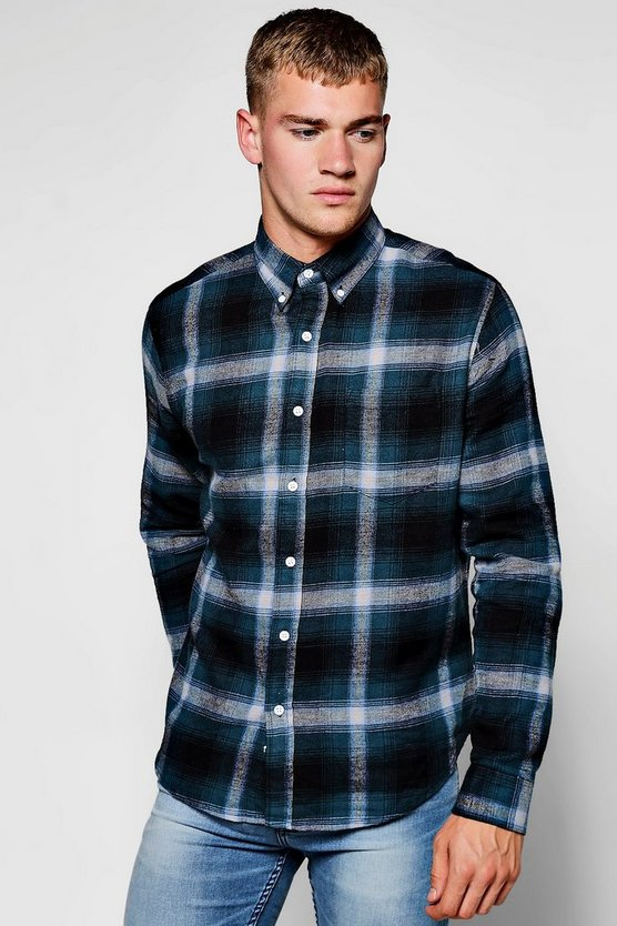 Teal Long Sleeve Checked Shirt