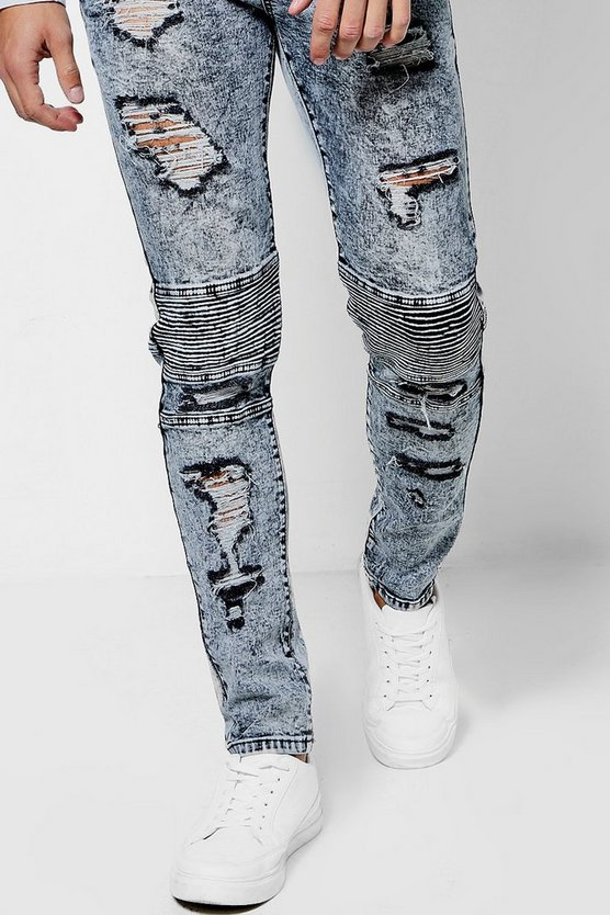Grey Skinny Fit Distressed Biker Jeans