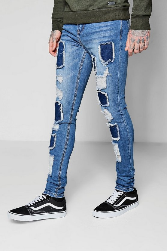 Super Skinny Ripped Patchwork Jeans