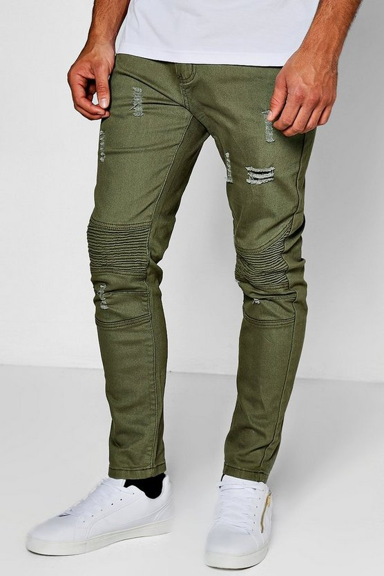 Distressed Skinny Fit Pocket Zip Biker Jeans