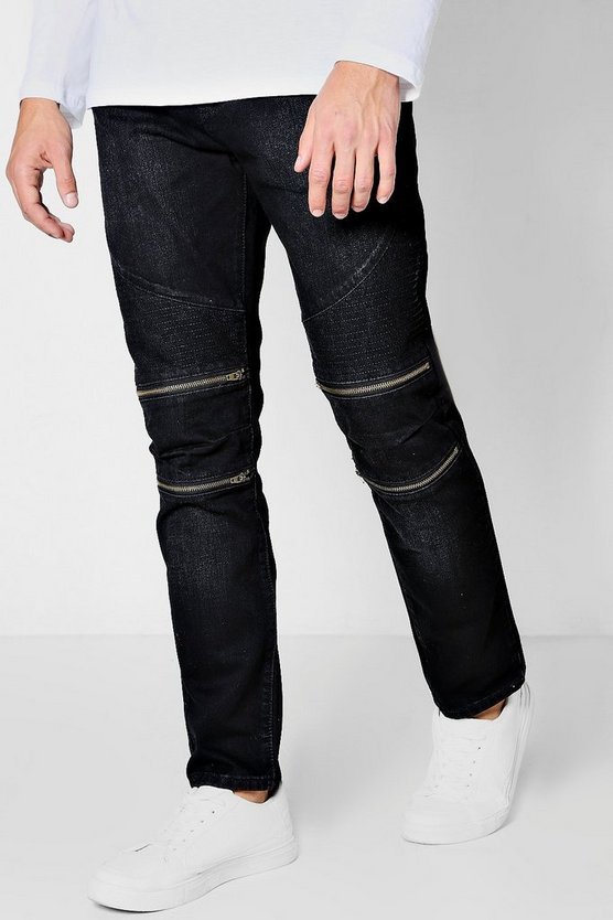 Slim Fit Zip Knee Biker Jeans
