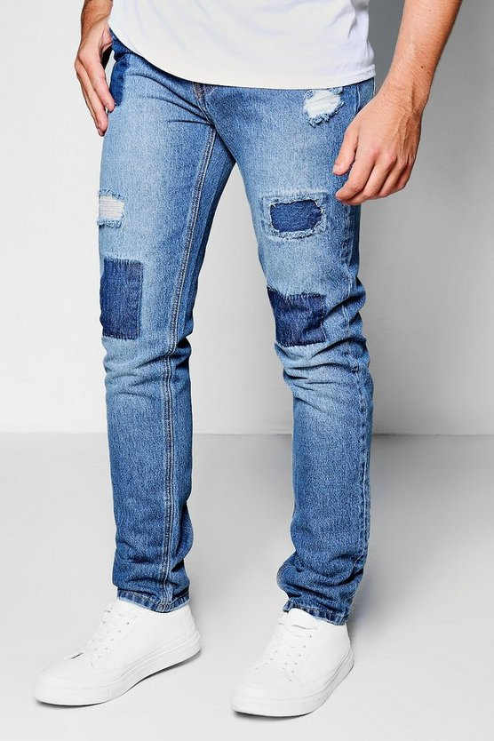 Mid Blue Tonal Patchwork Skinny Fit Jeans