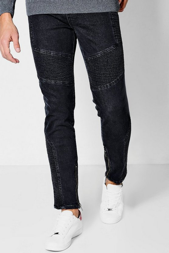 Skinny Fit Black Jeans With Biker Detailing
