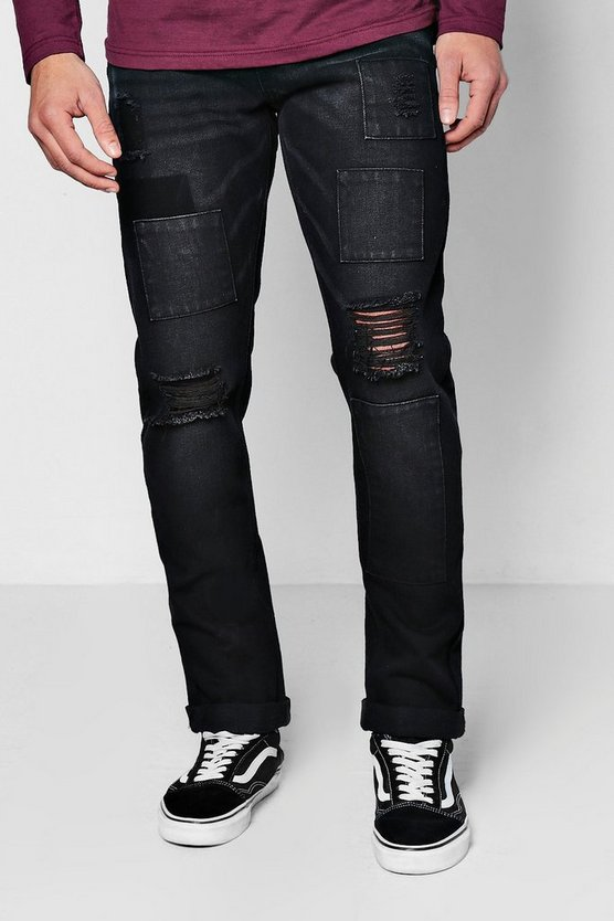 Black Slim Fit Patchwork Denim Jeans