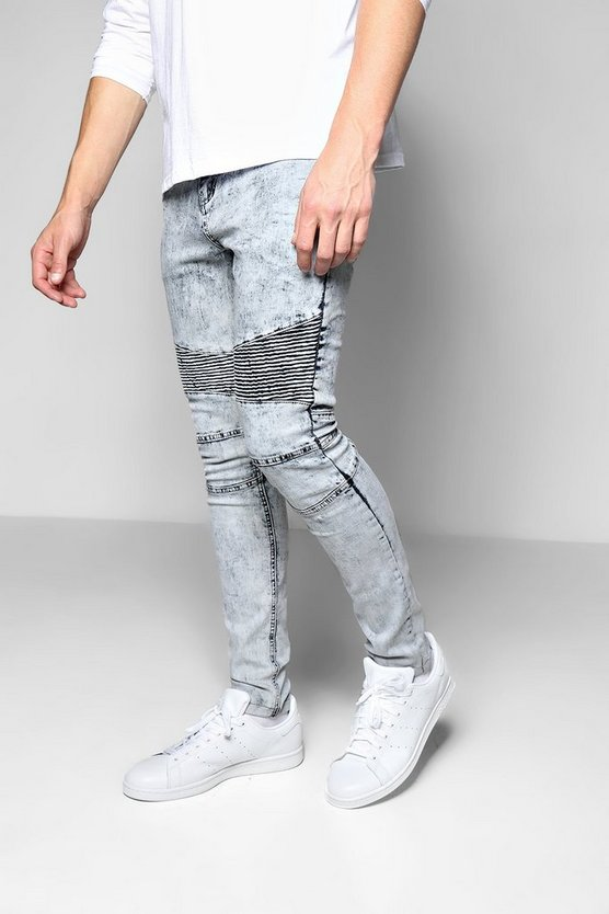 Charcoal Acid Wash Skinny Biker Jeans