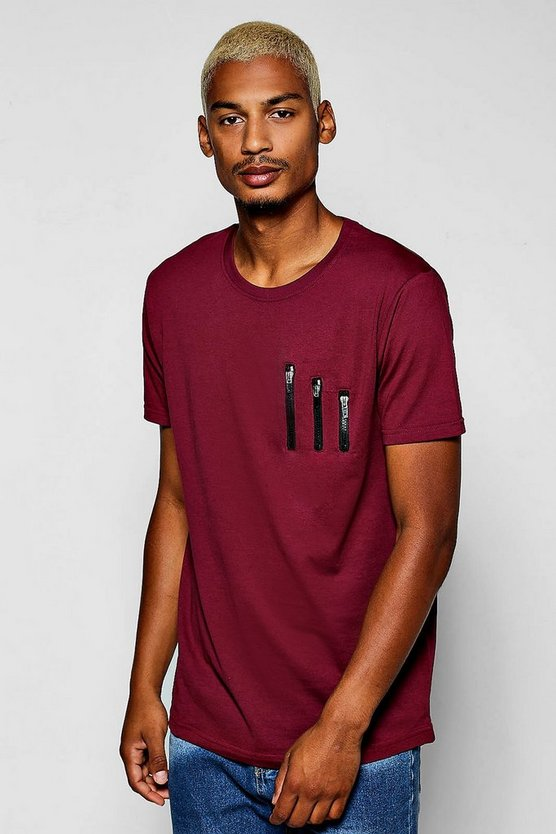 Zip Detail T-Shirt With Curve Hem