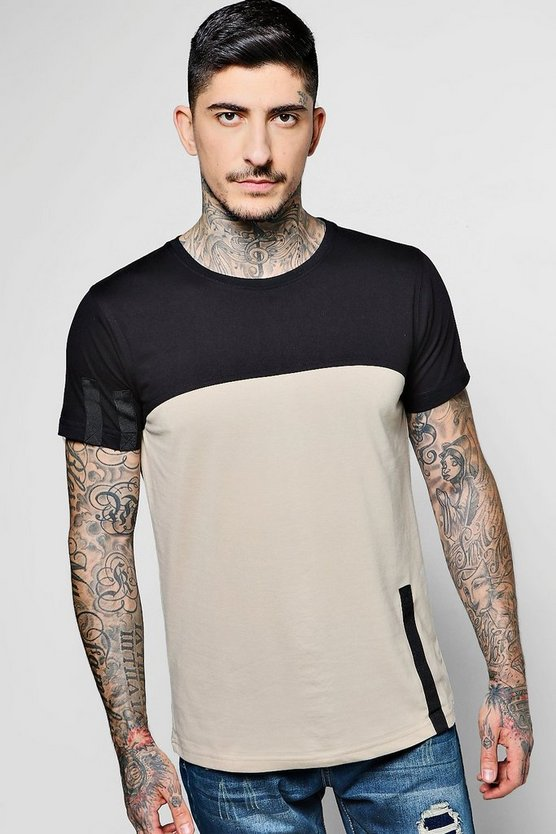 Cut And Sew Tape Detail T-Shirt