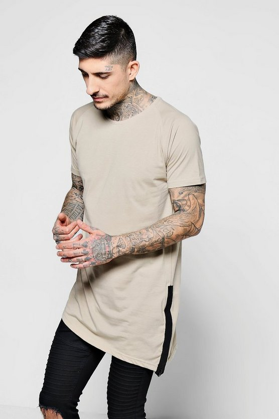Longline Asymmetric Sports Zip T-Shirt