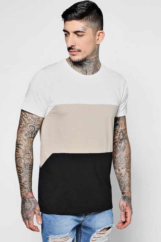 Colour Block Cut And Sew T-Shirt