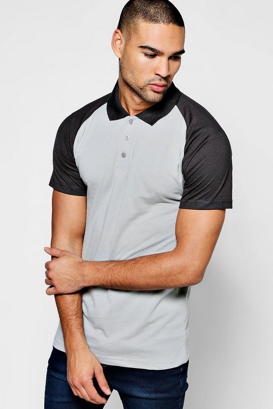 Raglan Colour Block Polo Shirt