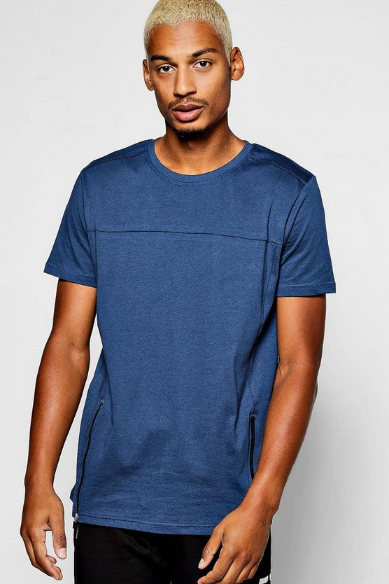 Panel T-Shirt With Zip Hem