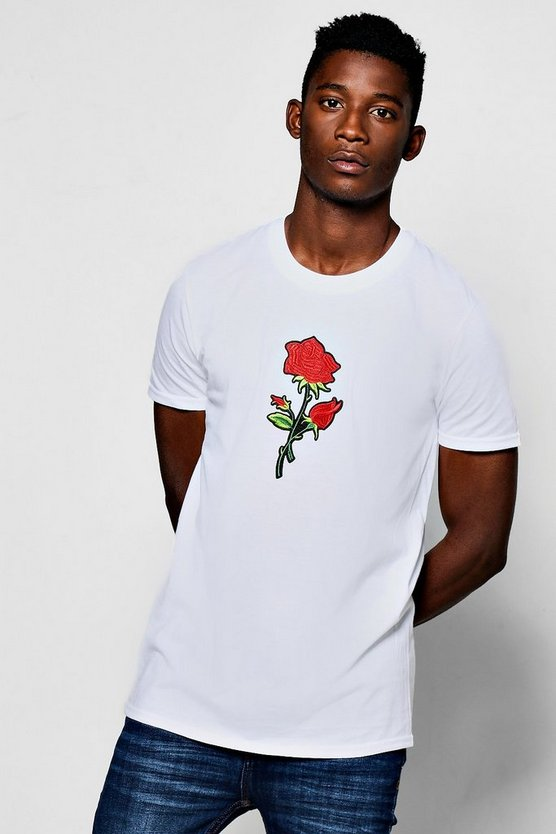 Centre Rose Embroidered T-Shirt
