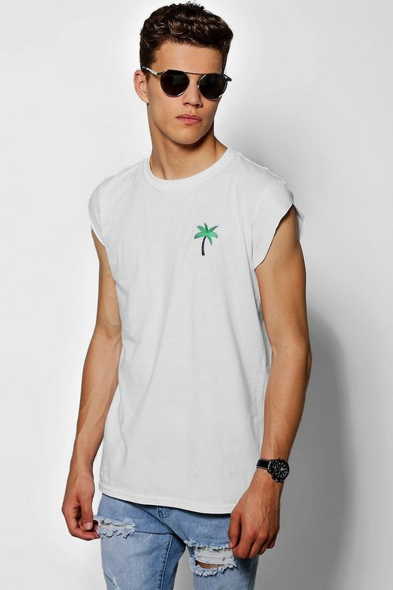 T-Shirt mit Palmen-Stickerei