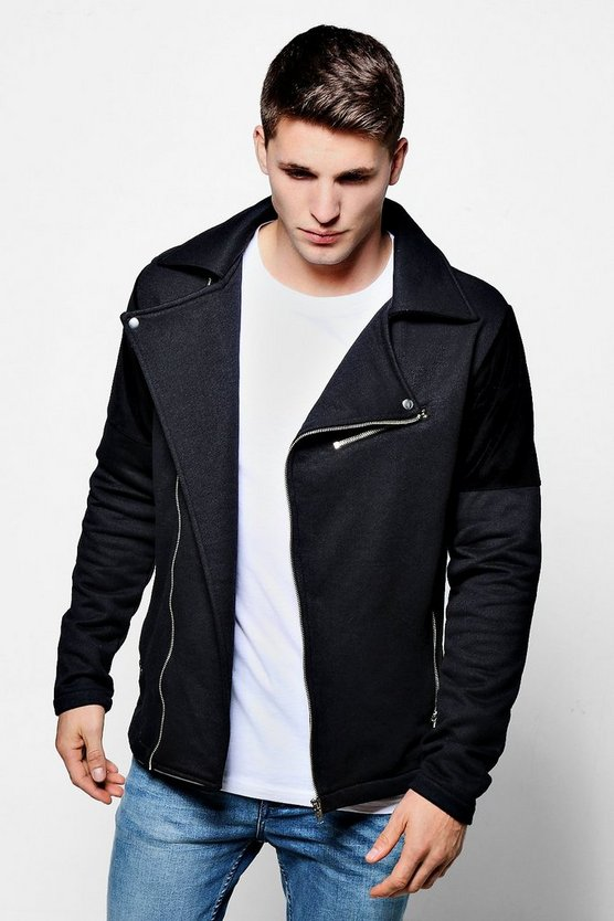 Jersey Biker Jacket With Velour Panel