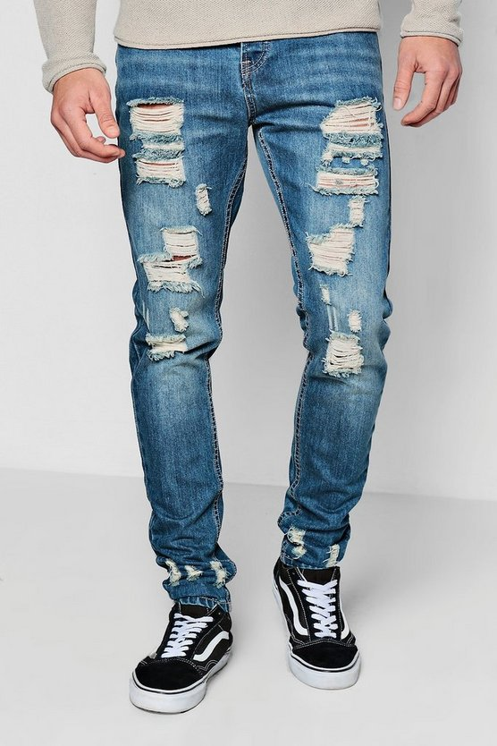 Mid Blue Skinny Rigid Jeans With Distressing