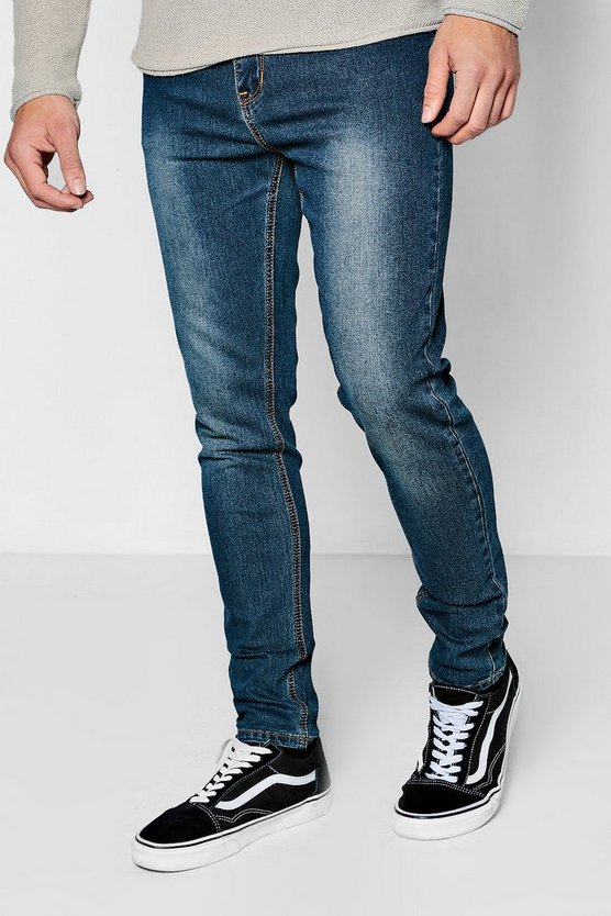 Washed Blue Stretch Skinny Denim Jeans