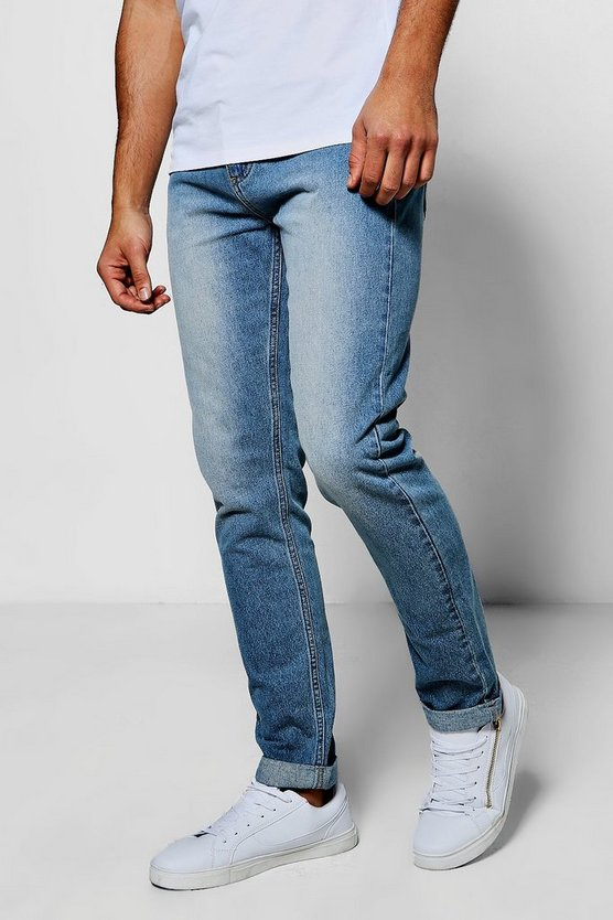 Vintage Wash Rigid Denim Jeans In Slim Fit