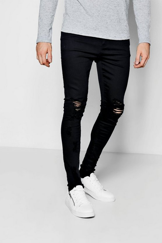 Spray On Skinny Jeans With Distressed Knee