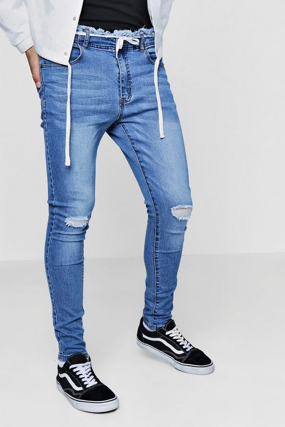 Super Skinny Jeans With Distressed Waistband