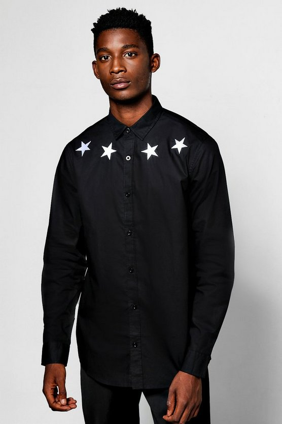 Long Sleeve Star Embroidered Shirt