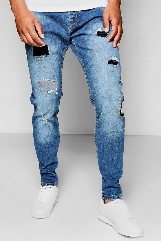 Blue Wash Slim Fit Rip And Repair Jeans