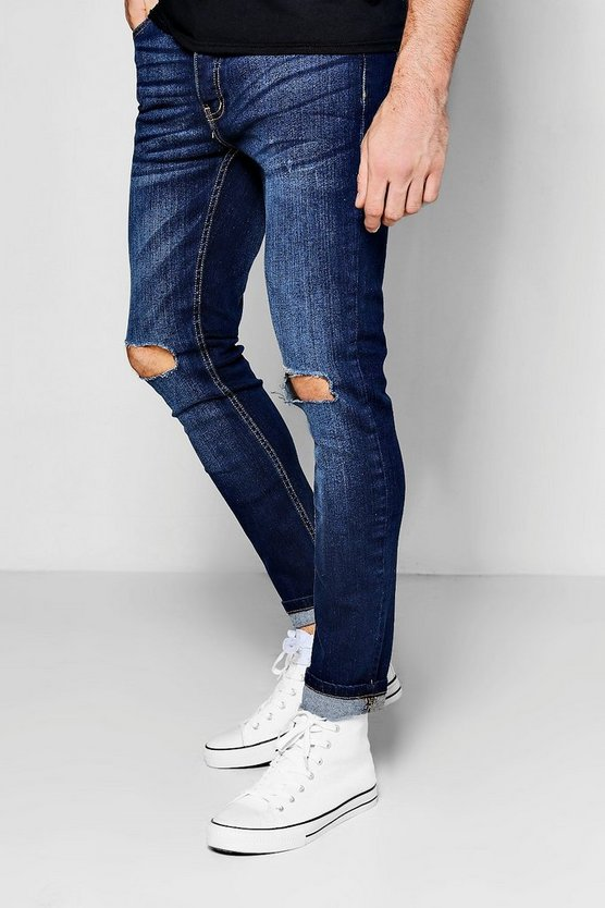 Indigo Stretch Skinny Jeans With Ripped Knee