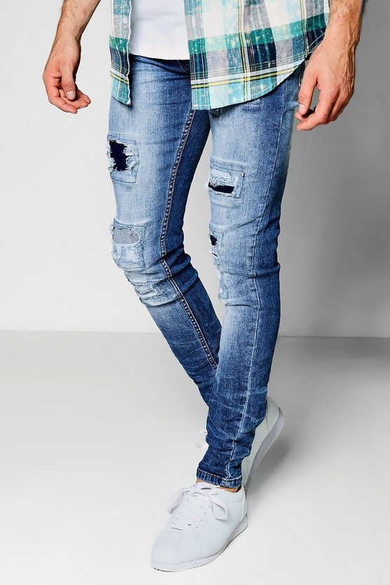Mid Blue Stretch Skinny Rip And Repair Jeans