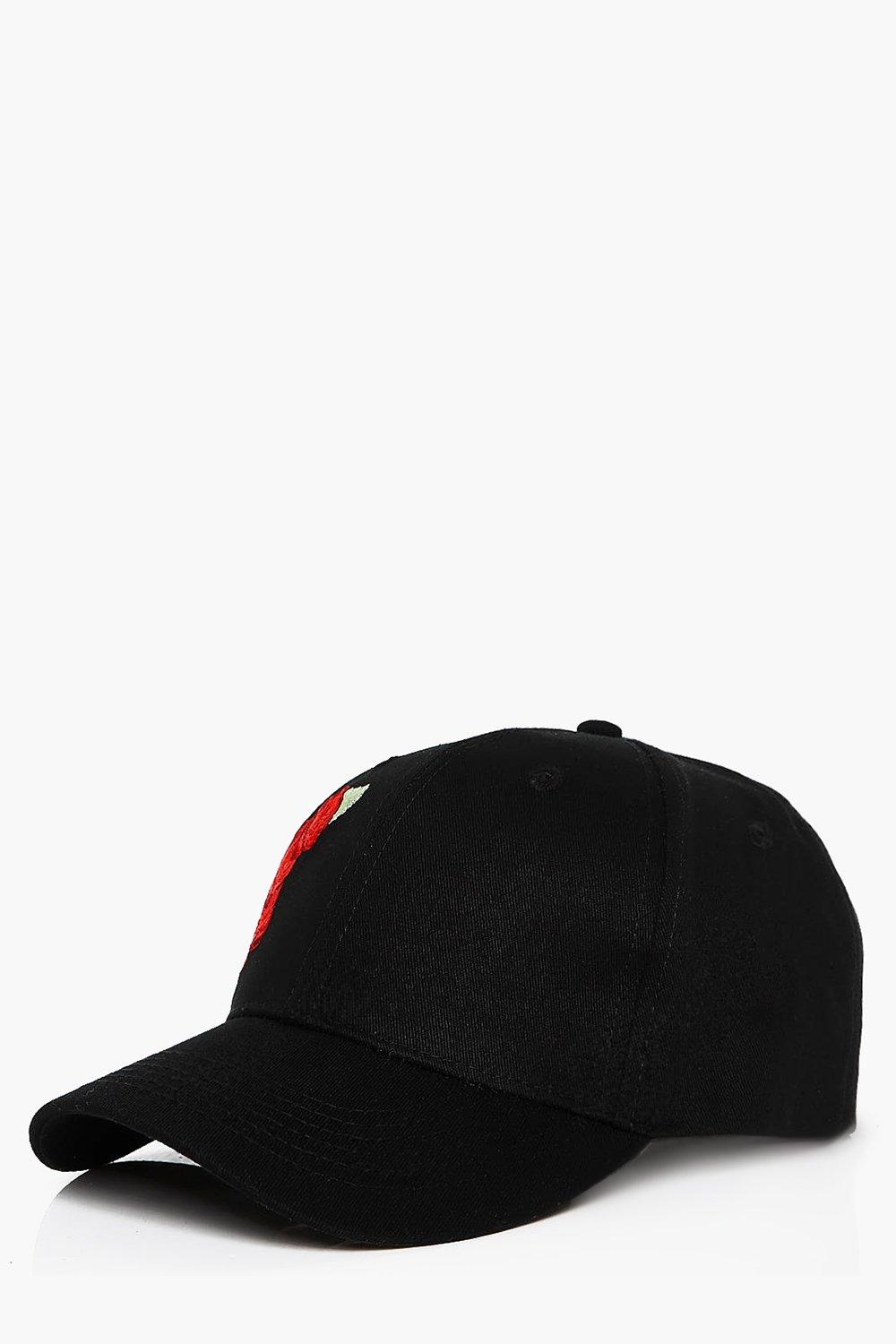 Embroidered Baseball Cap - black - Rose Embroidere