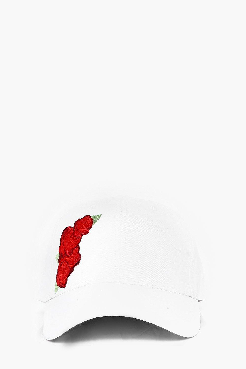 Embroidered Baseball Cap - white - Rose Embroidere
