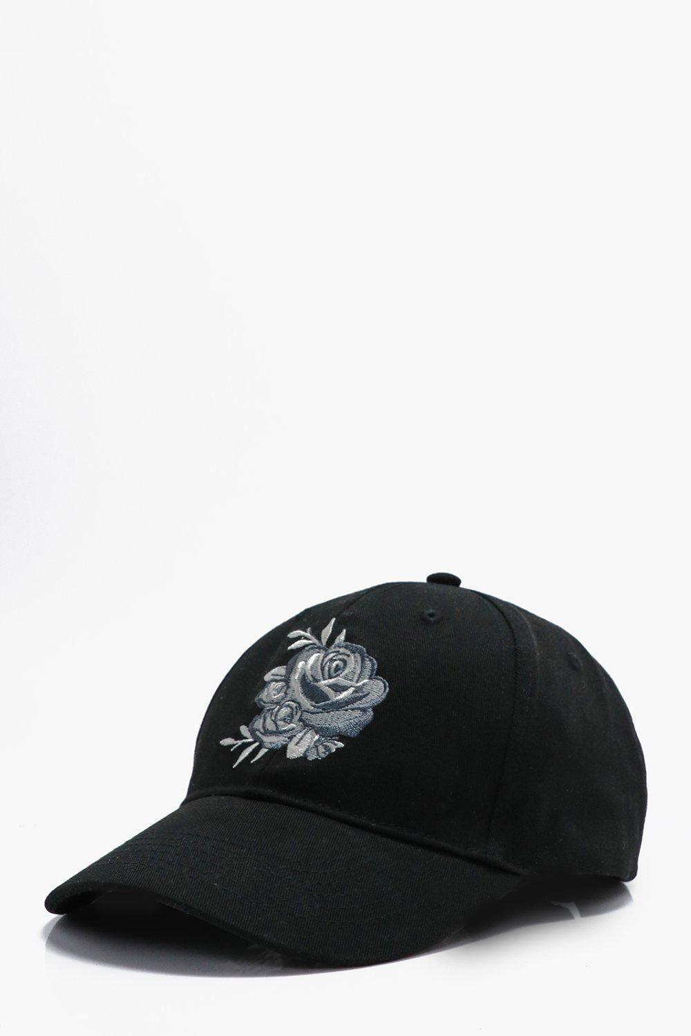 Rose Embroidered Baseball Cap - black - Silver Ros