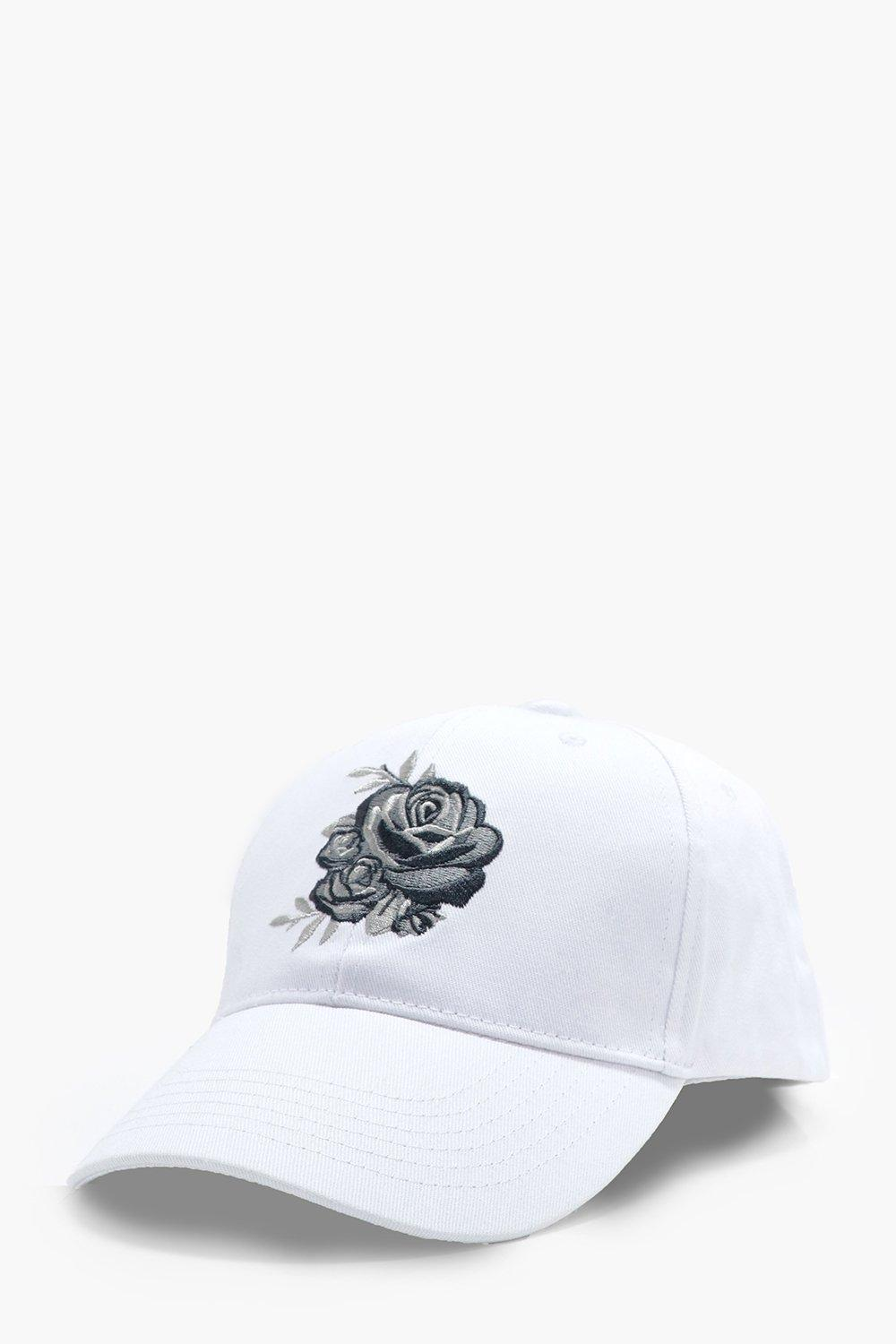 Rose Embroidered Baseball Cap - white - Silver Ros