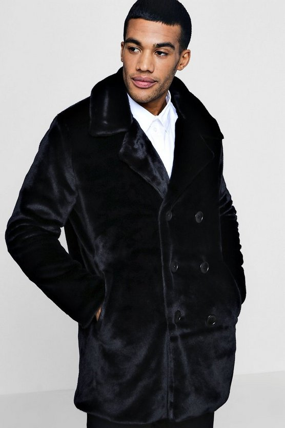 Premium Black Faux Fur Double Breasted Pea Coat