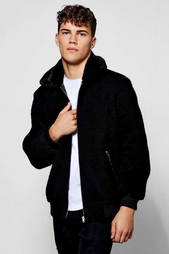 Black Borg Harrington With Faux Fur Collar