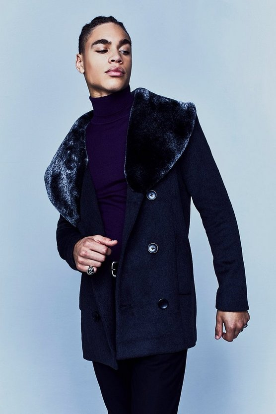 Premium Wool Mix Pea Coat with Faux Fur Collar