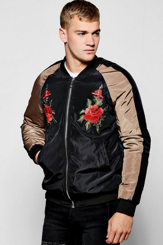 Black Raglan Bomber Jacket With Rose Badges